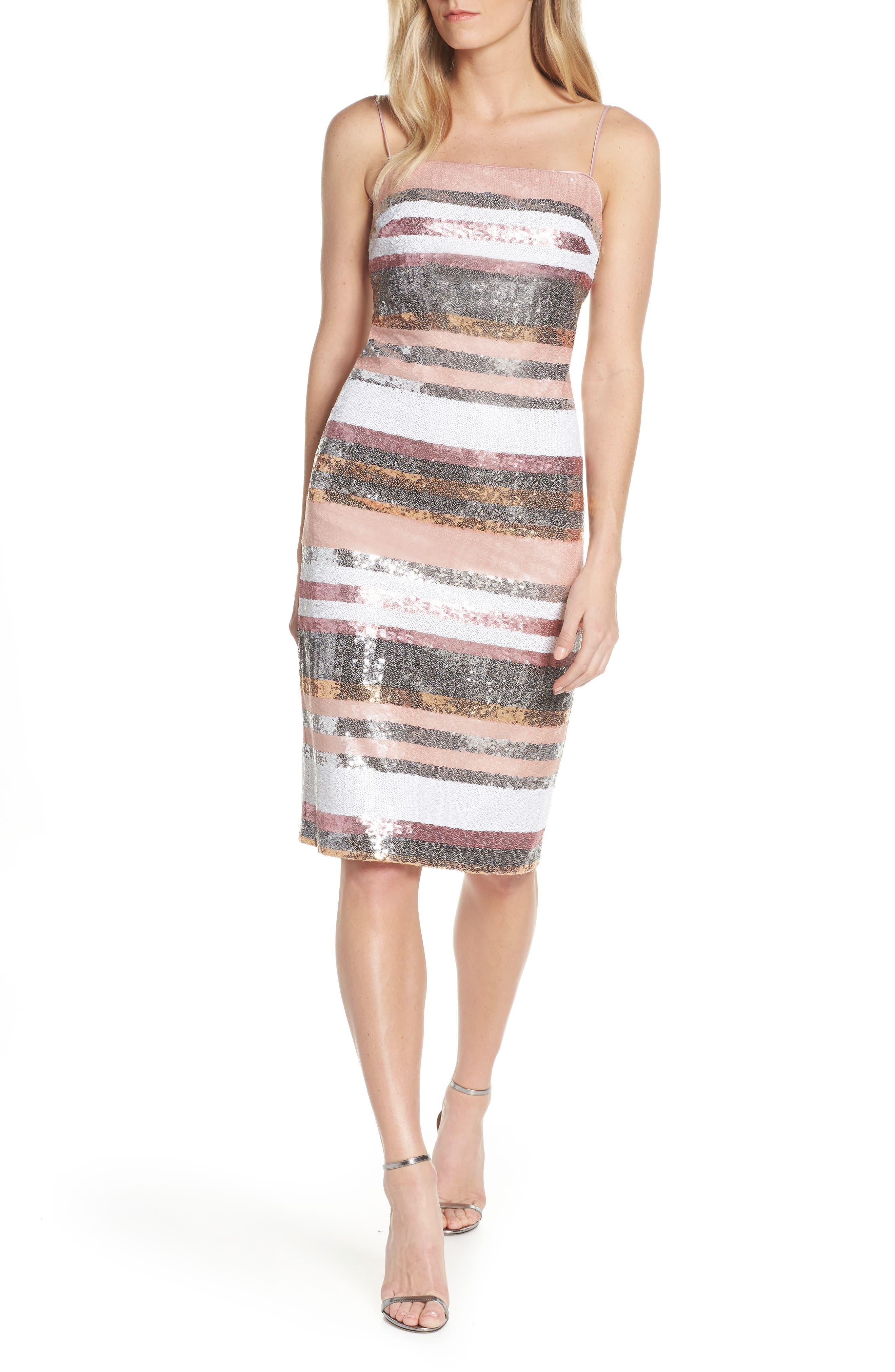 Vince Camuto Sequin Stripe Dress, Pink