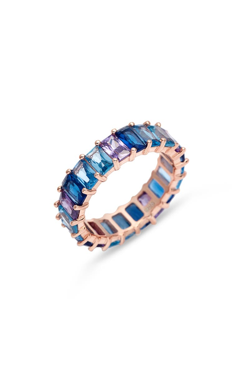 ADINA'S JEWELS Adina's Jewels Ombré Eternity Ring, Main, color, BLUE