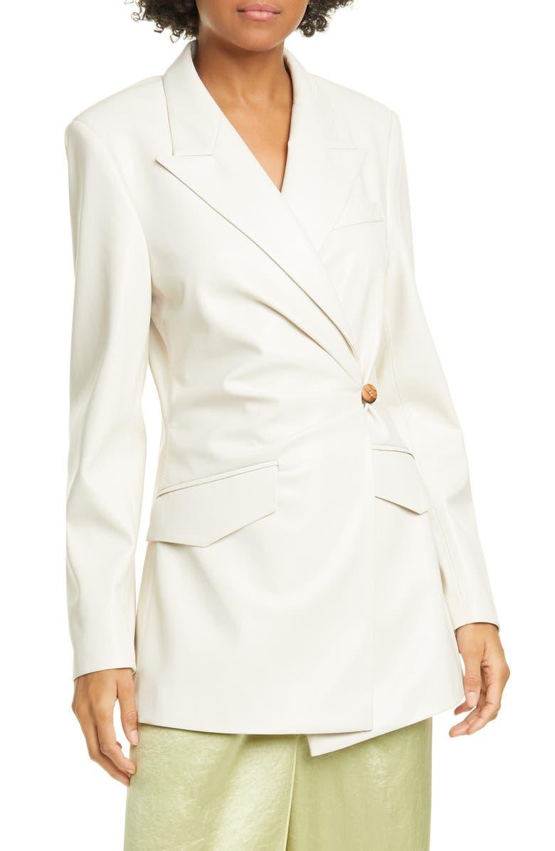 NANUSHKA Blair Wrap Front Vegan Leather Blazer, Main, color, OFF-WHITE