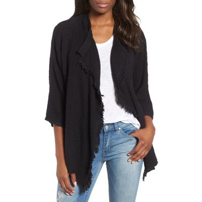 Caslon Drape Front Cotton Blend Cardigan, Black
