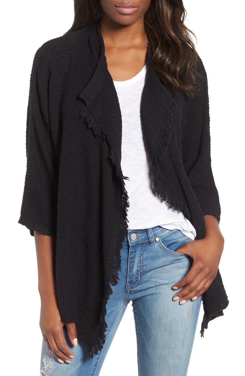 CASLON<SUP>®</SUP> Drape Front Cotton Blend Cardigan, Main, color, 001