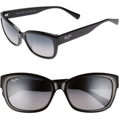 Maui Jim Plumeria 55mm Polarizedplus2 Cat Eye Sunglasses - Gloss Black/ Neutral Grey