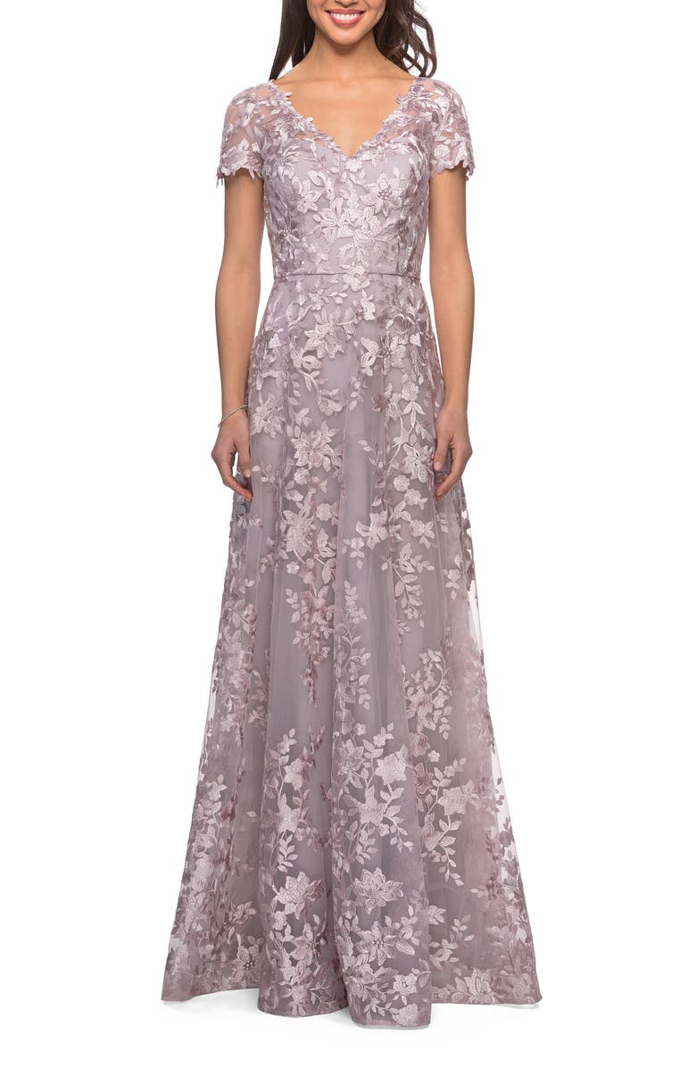 LA FEMME Embroidered Lace Gown, Main, color, ANTIQUE BLUSH