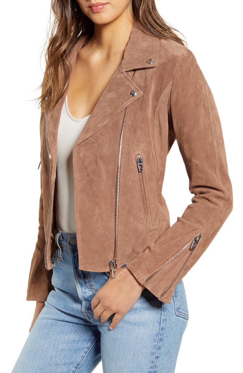 BLANKNYC Next Level Suede Moto Jacket, Main, color, COFFEE BEAN
