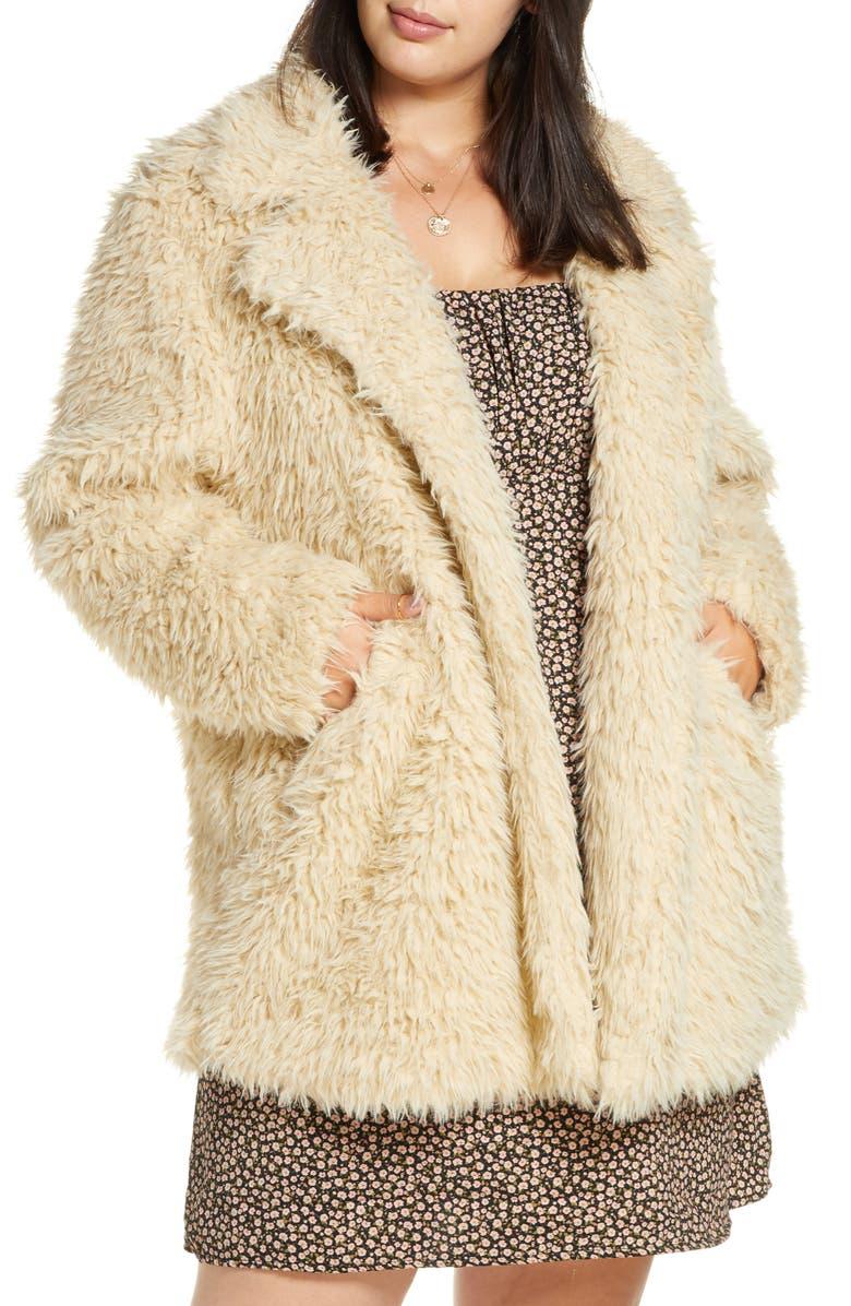 BP. Faux Fur Teddy Coat, Main, color, TAN LION
