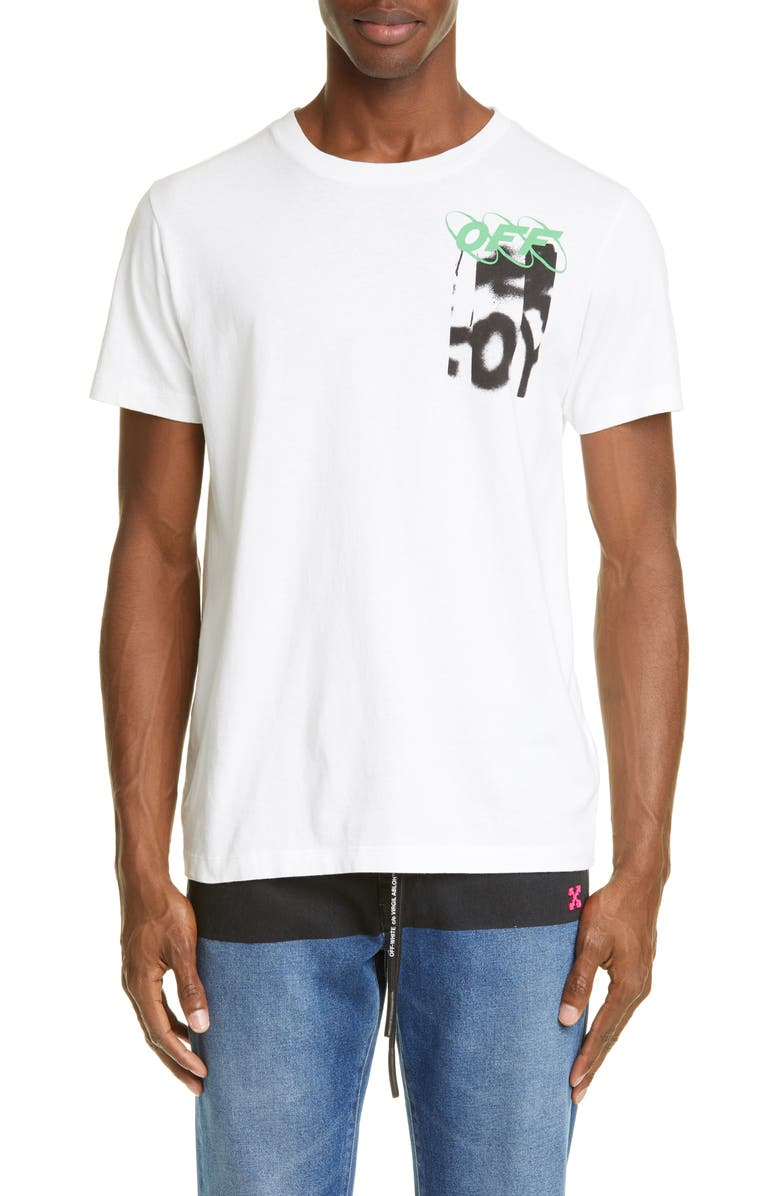 OFF-WHITE Slim Fit Spray Blurred Graphic T-Shirt, Main, color, 100