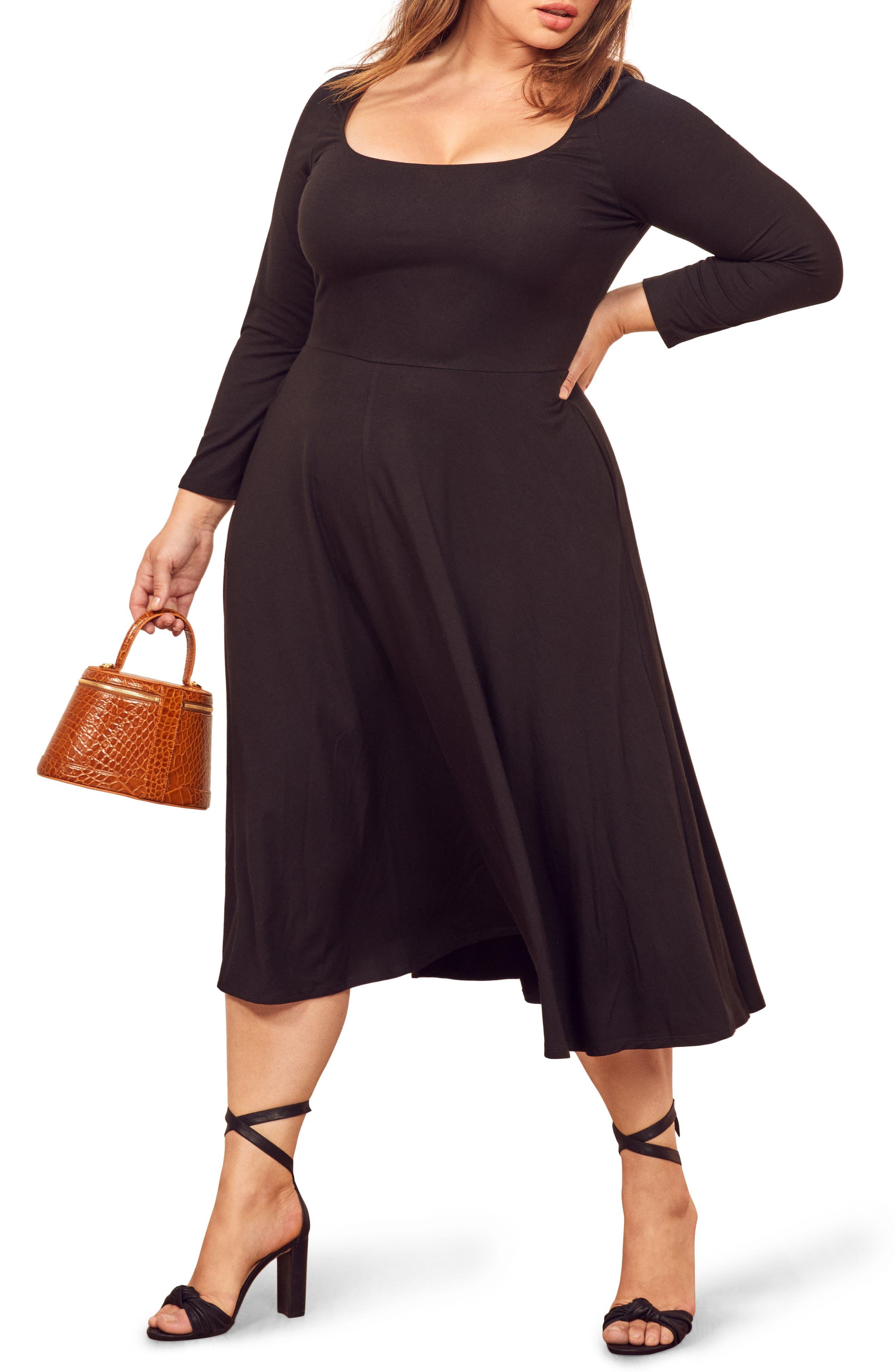 ,                             Lou Midi Dress,                             Alternate thumbnail 5, color,                             BLACK
