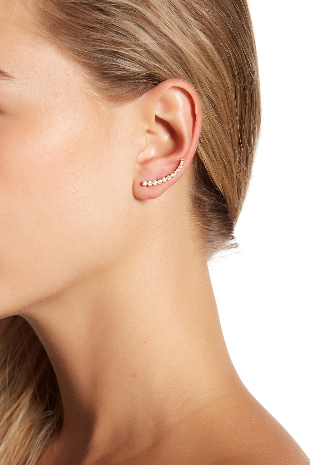 Sterling Forever CZ Brilliant Sphere Ear Crawlers