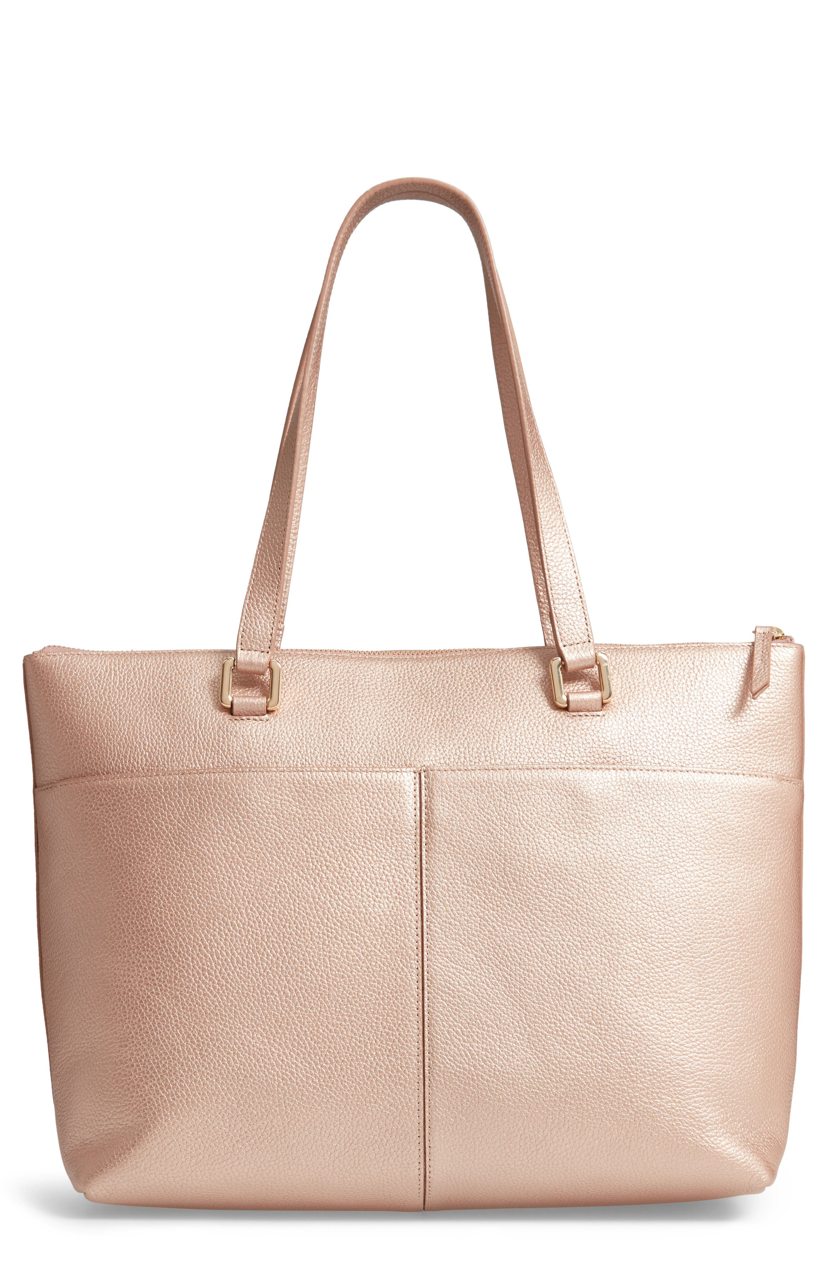 Lexa Pebbled Leather Tote, Main, color, ROSE GOLD