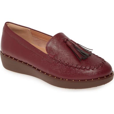 Fitflop Petrina Moc Toe Loafer- Burgundy (Nordstrom Exclusive)