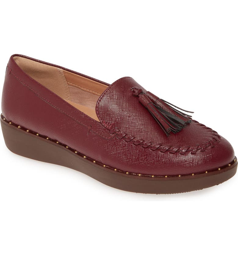 FITFLOP Petrina Moc Toe Loafer, Main, color, LINGONBERRY PATENT LEATHER