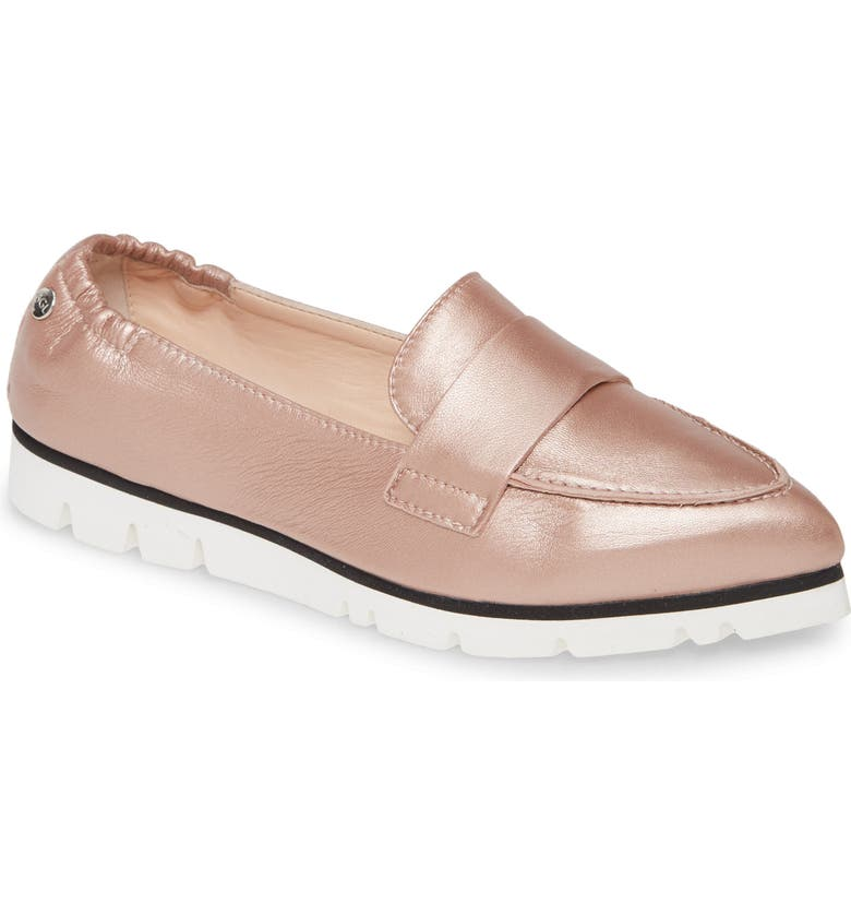 AGL Micro Pointed Toe Loafer, Main, color, PALE PINK METALLIC