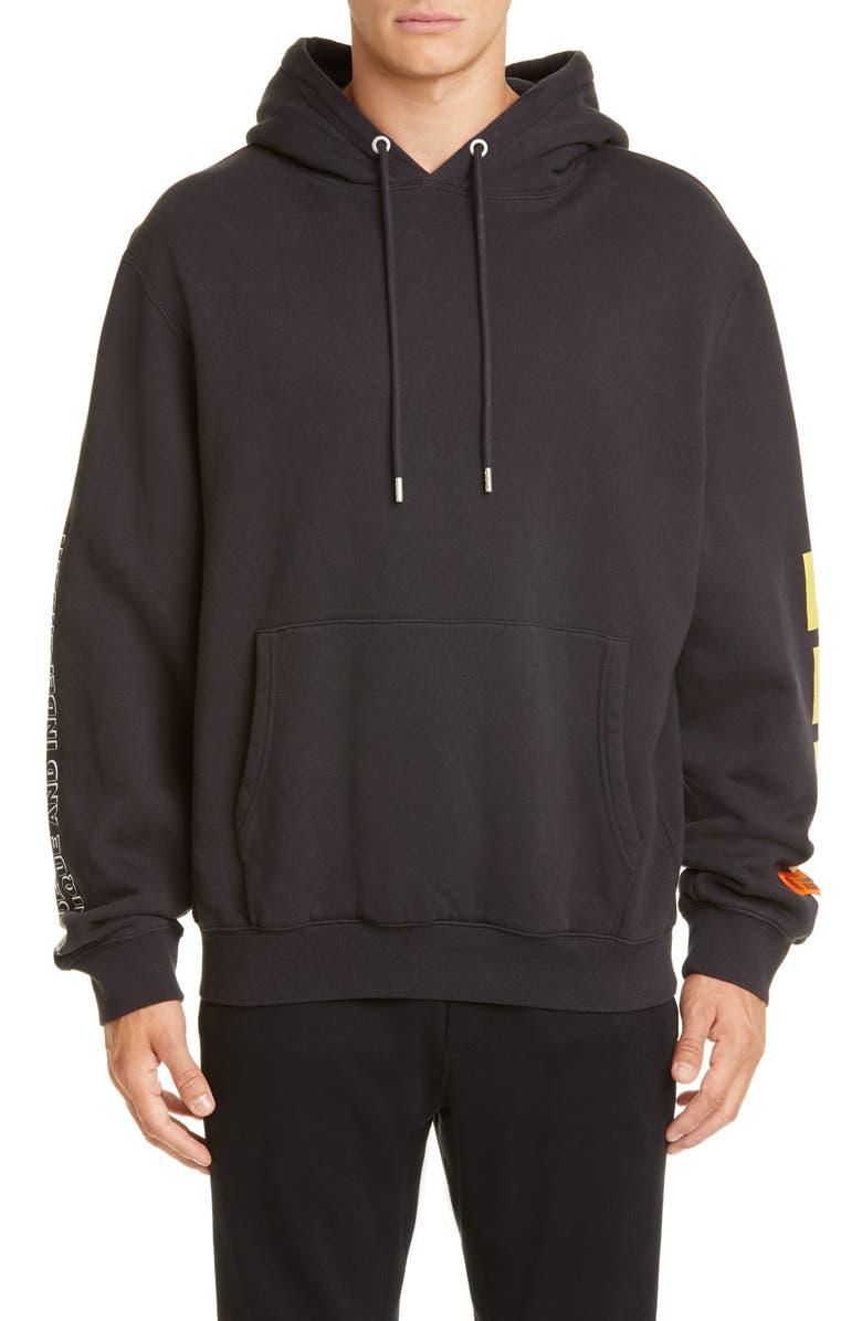 HERON PRESTON Skull Graphic Hooded Sweatshirt, Main, color, 001