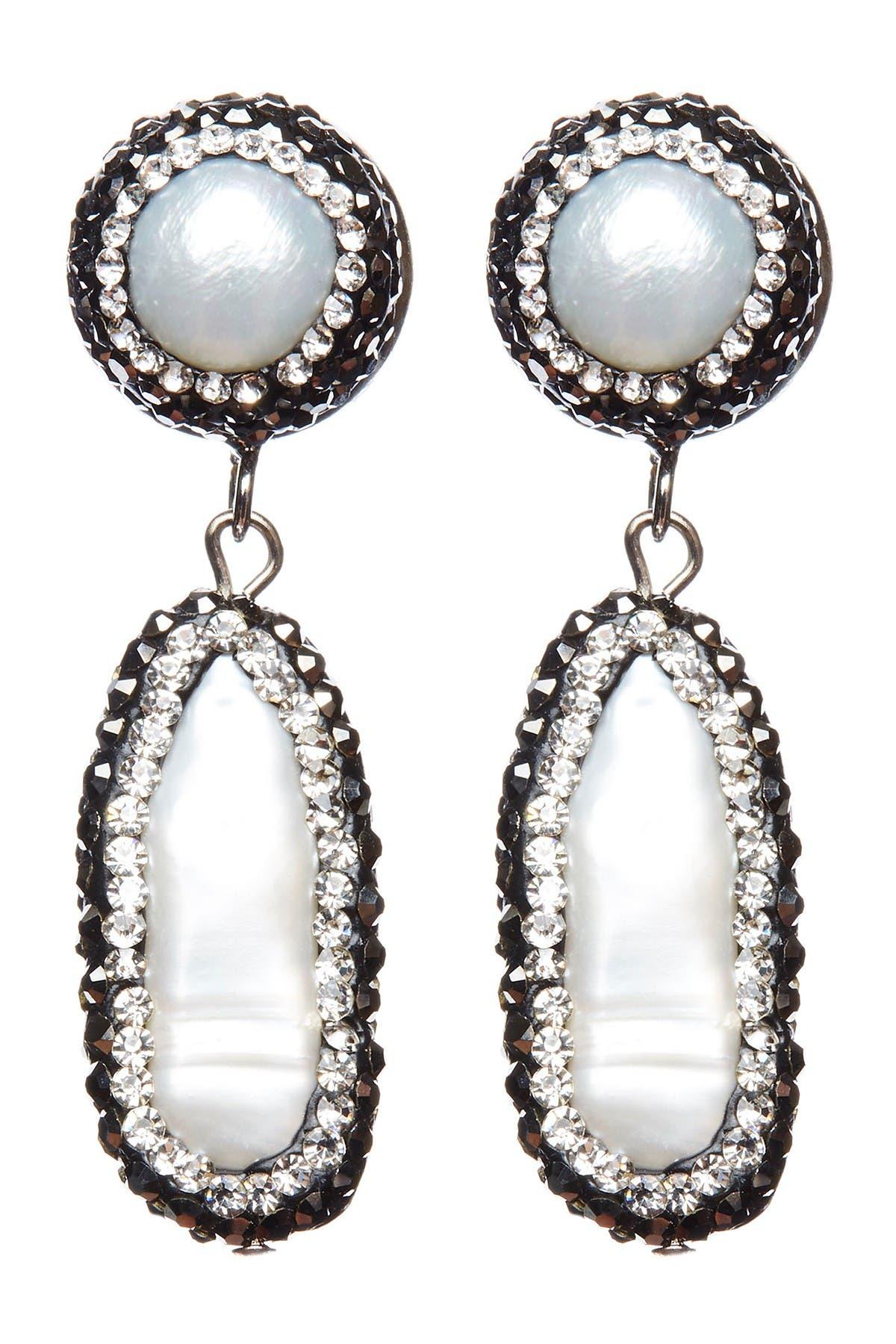 Image of Eye Candy Los Angeles Frozen Shell Pearl & Hematite Drop Pendant Earrings
