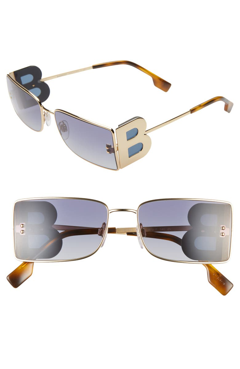 BURBERRY 57mm Rectangle Sunglasses, Main, color, GOLD/ BLUE GRADIENT
