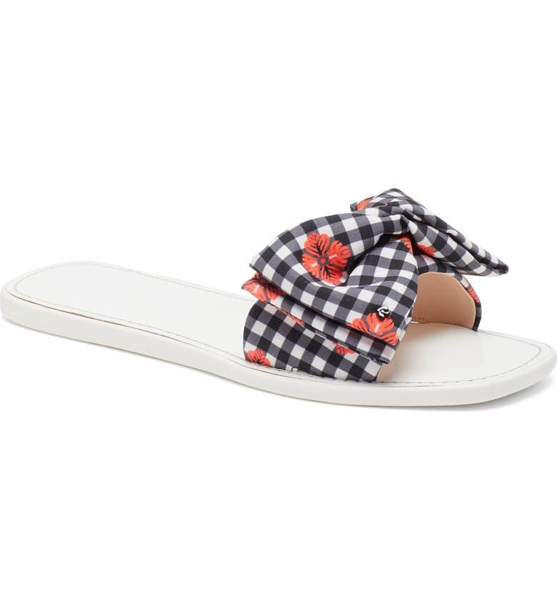 KATE SPADE NEW YORK bikini slide sandal, Main, color, FRESH WHITE/ RAD CORAL