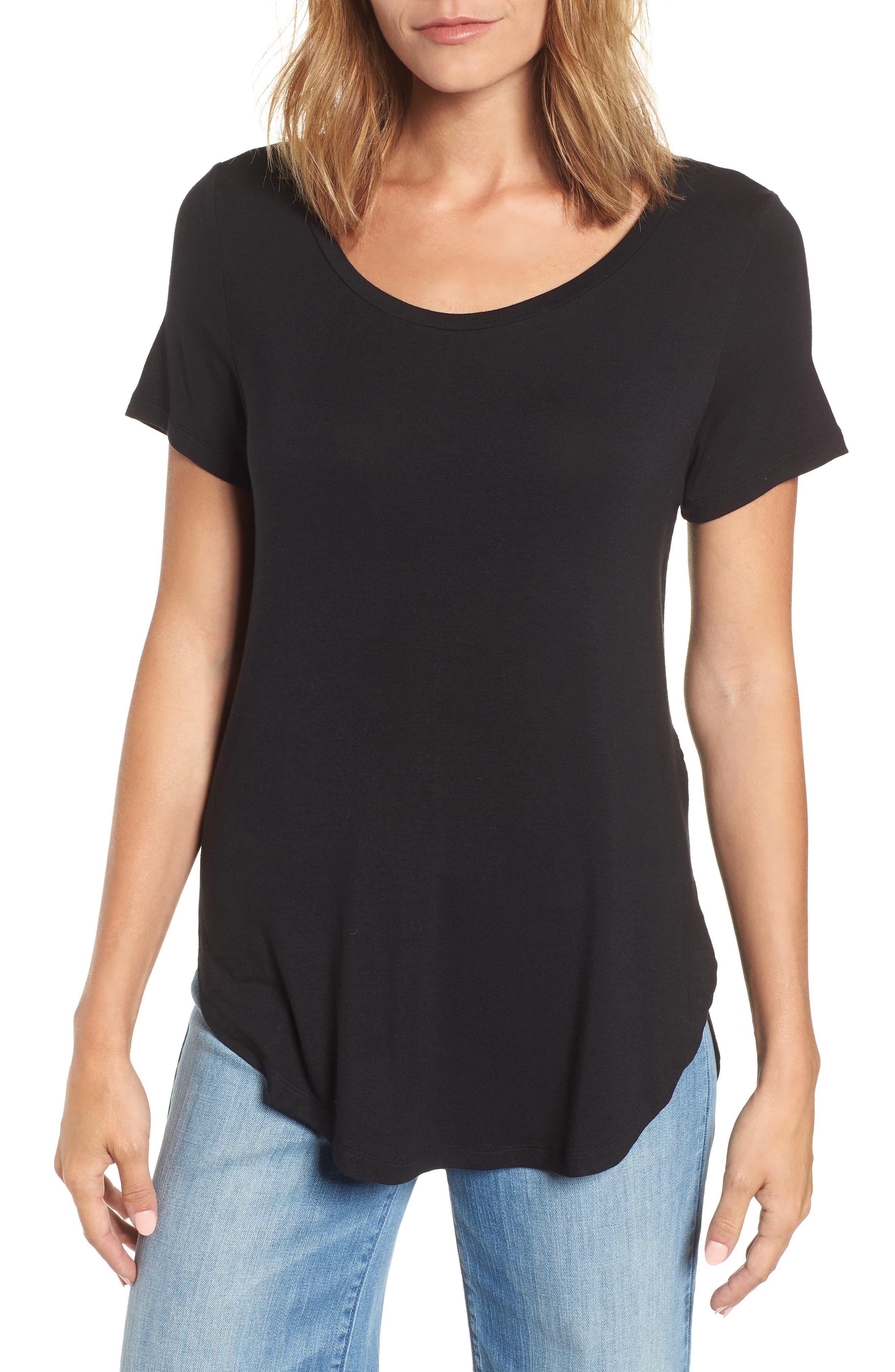 ,                             Short Sleeve Shirttail Tee,                             Main thumbnail 1, color,                             BLACK