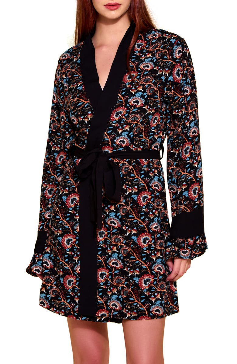 HAUTY Floral Challis Robe, Main, color, Black