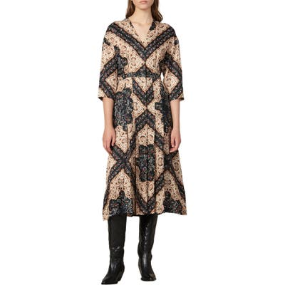 Sandro Steva Mix Print Midi Dress, 8 FR - Black