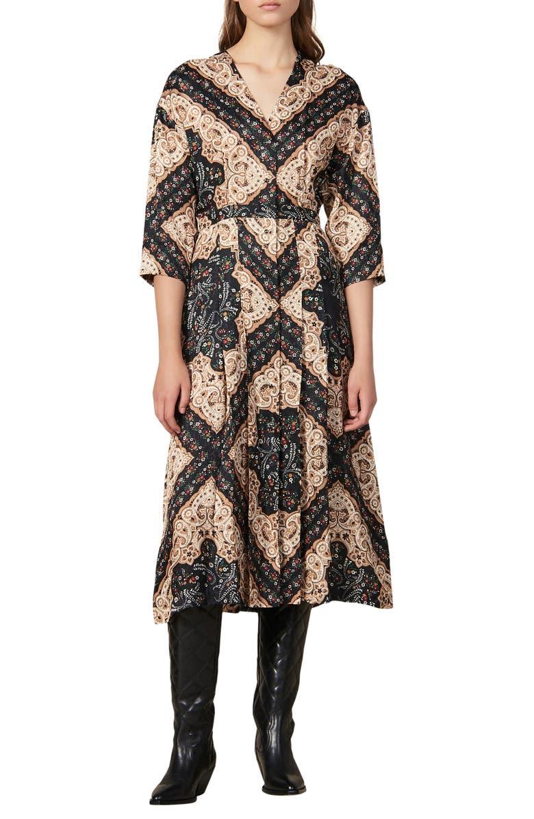 SANDRO Steva Mix Print Midi Dress, Main, color, 001