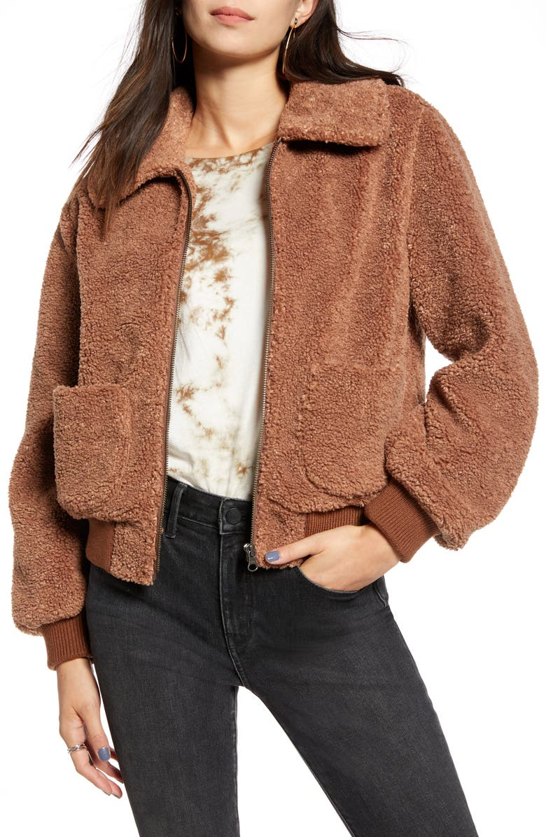 TREASURE & BOND Faux Shearling Teddy Jacket, Main, color, TAN CAMEL