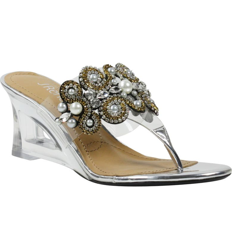 J. RENEÉ J.Reneé Darshana Embellished Wedge Slide Sandal, Main, color, SILVER/ CLEAR