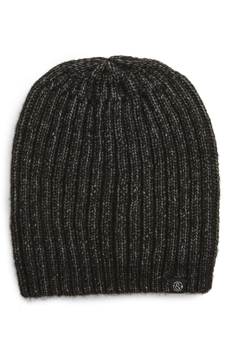 TREASURE & BOND Rib Beanie, Main, color, BLACK