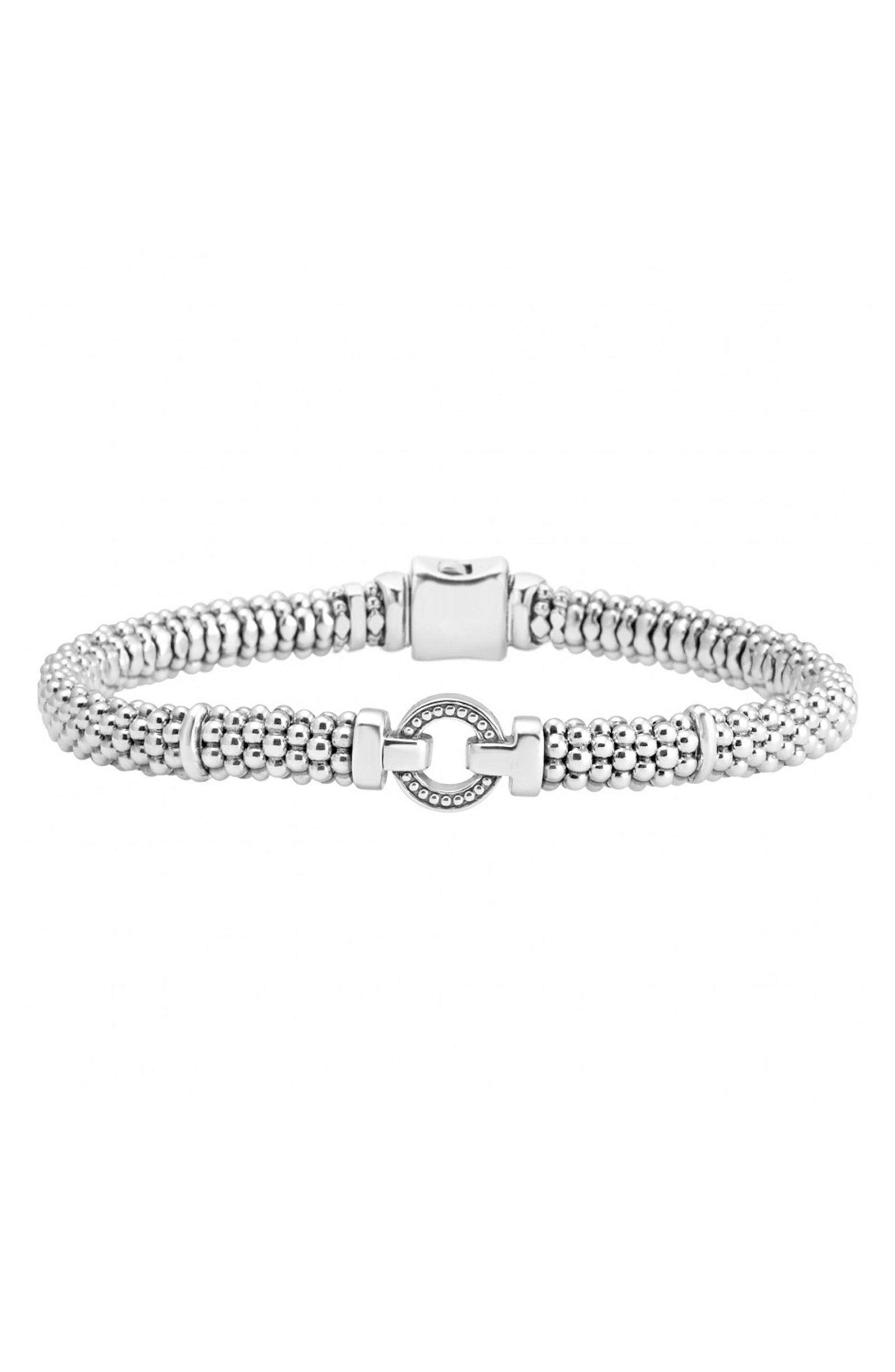 Enso Boxed Circle Station Caviar Rope Bracelet, Main, color, STERLING SILVER