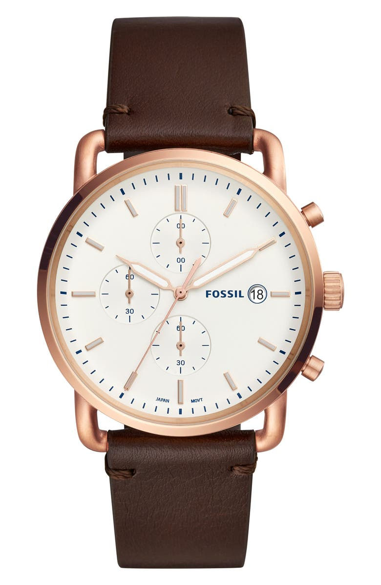 FOSSIL The Commuter Chronograph Leather Strap Watch, 42mm, Main, color, 200