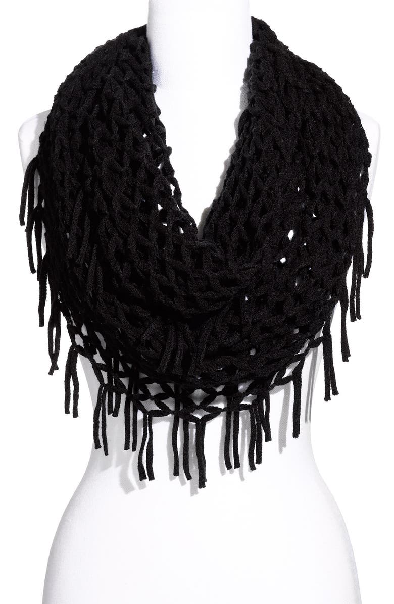 DAVID & YOUNG Airy Woven Fringed Infinity Scarf, Main, color, 001