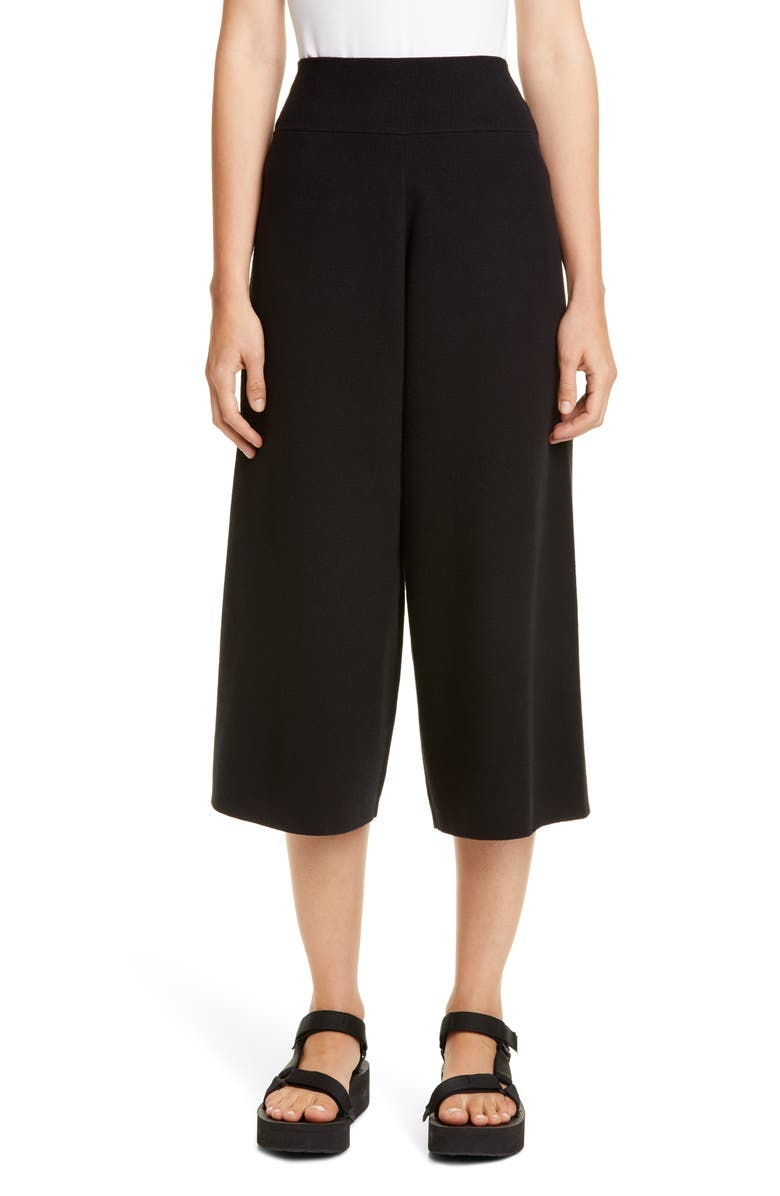 VICTOR GLEMAUD Cotton & Cashmere Wide Leg Crop Pants, Main, color, BLACK