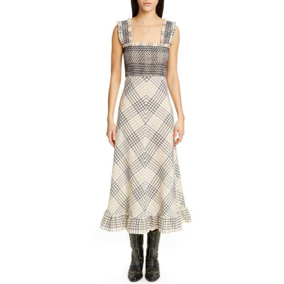 Ganni Check Seersucker A-Line Midi Sundress, US / 4 - Beige