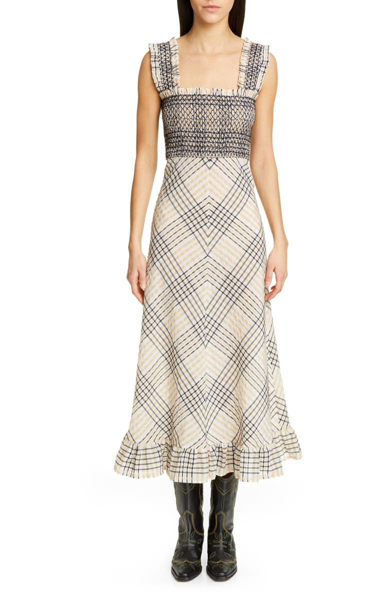 GANNI Check Seersucker A-Line Midi Sundress, Main, color, IRISH CREAM
