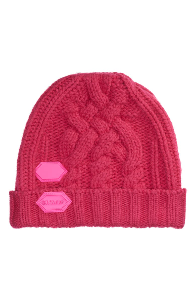 OFF-WHITE Rubber Patch Cable Knit Wool Beanie, Main, color, FUCHSIA