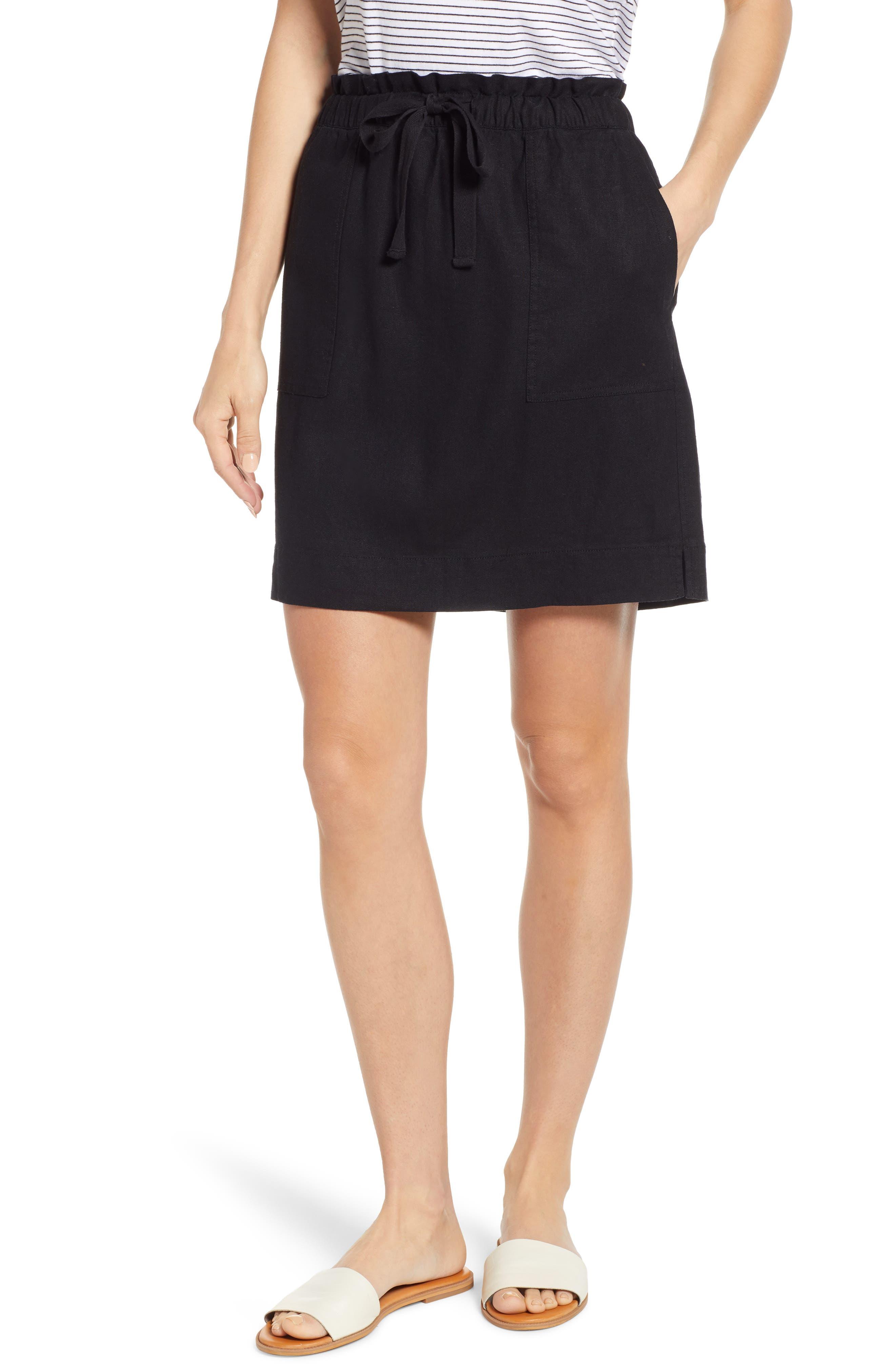 Caslon Paperbag Waist Linen Blend Skirt, Black