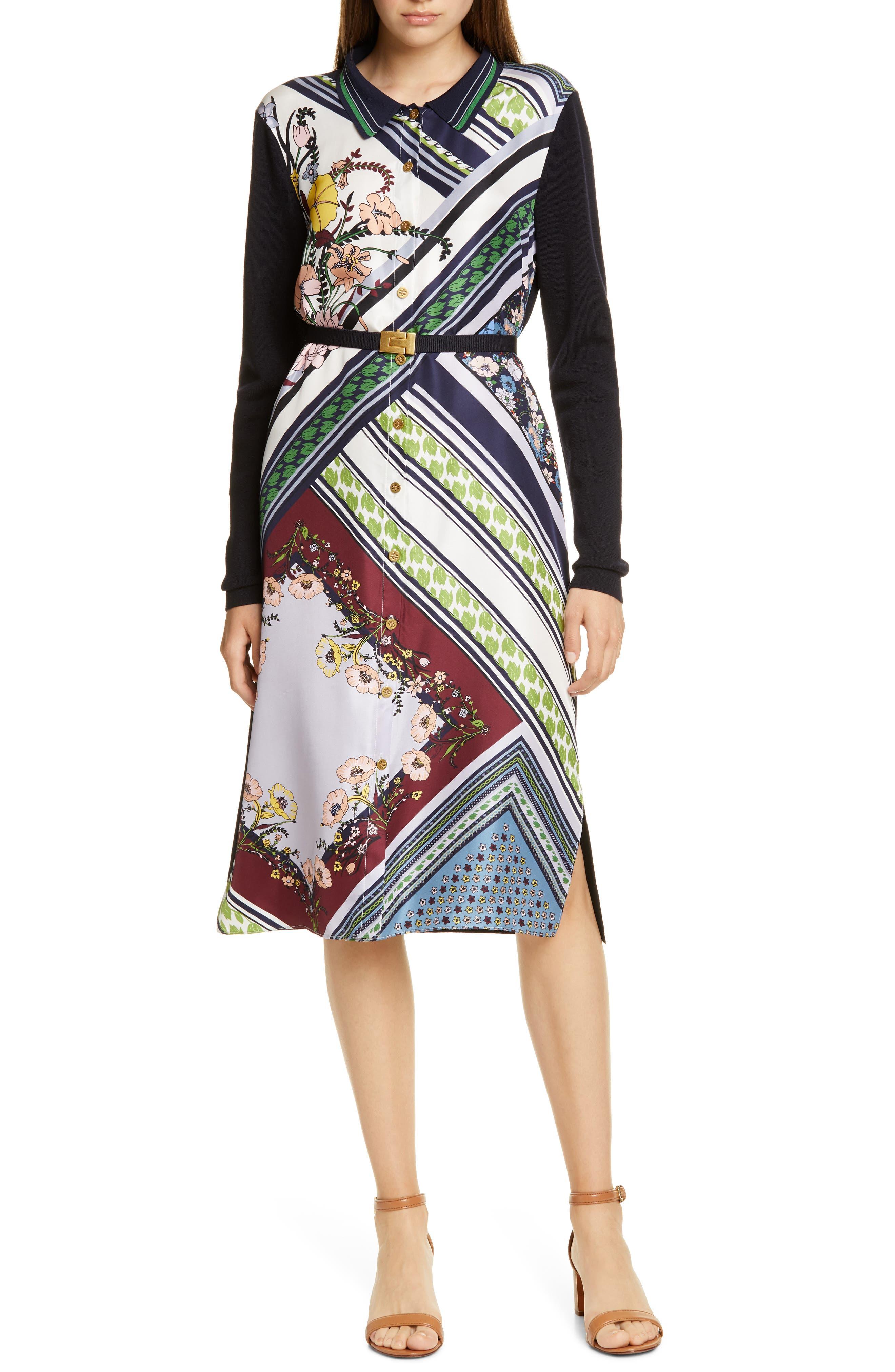 Tory Burch Dresses Silk Front Long Sleeve Shirtdress