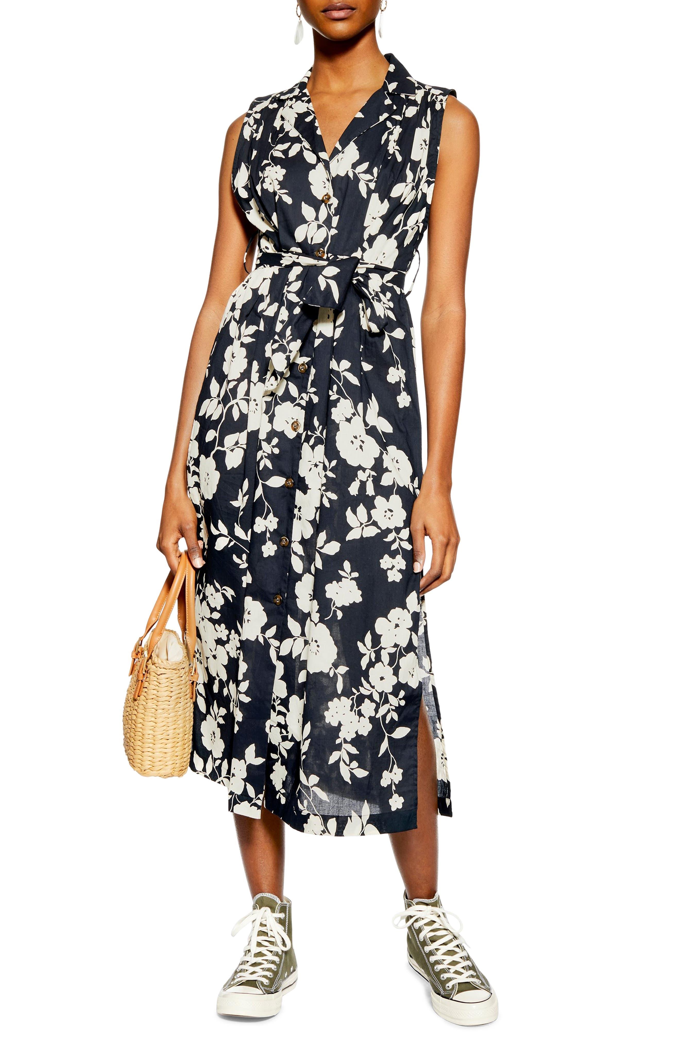 Topshop Sleeveless Midi Shirtdress, US (fits like 6-8) - Ivory