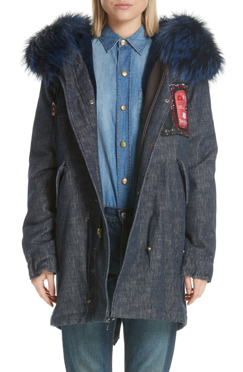 MR & MRS ITALY Denim Parka with Genuine Fox Fur Trim, Main, color, 400