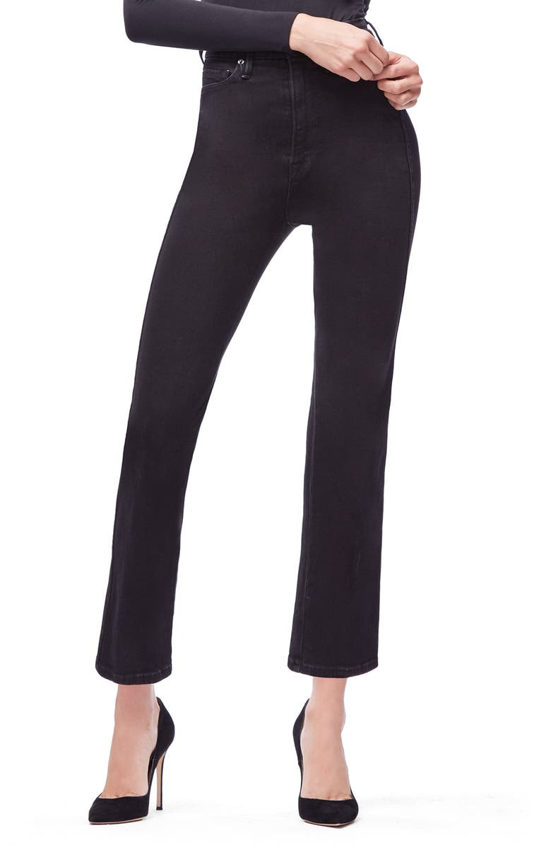 GOOD AMERICAN Good Curve Straight Leg Jeans, Main, color, BLACK030