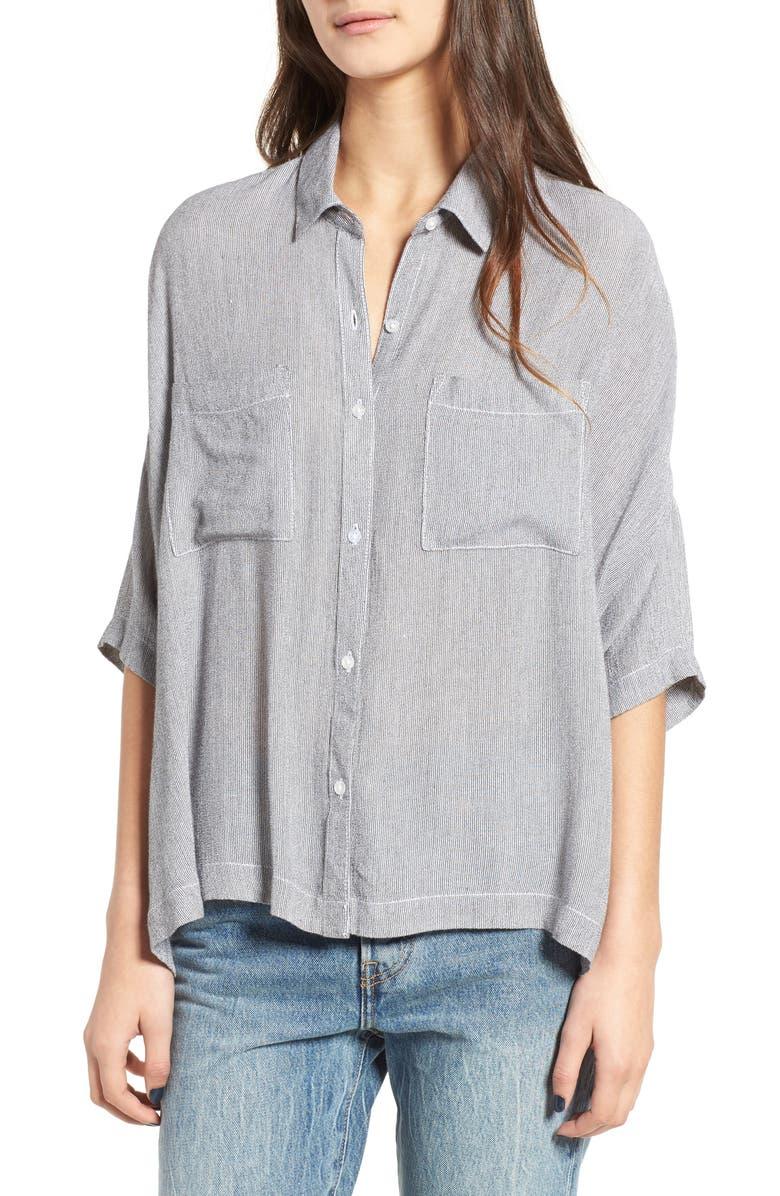 BP. Stripe Slouchy Shirt, Main, color, 100