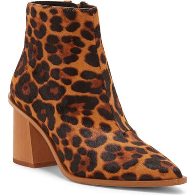 1.state Kelte Pointy Toe Genuine Calf Hair Bootie- Brown