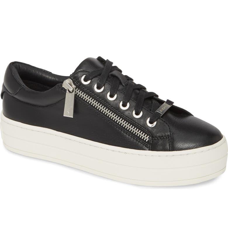 JSLIDES Harling Genuine Calf Hair Platform Sneaker, Main, color, BLACK LEATHER