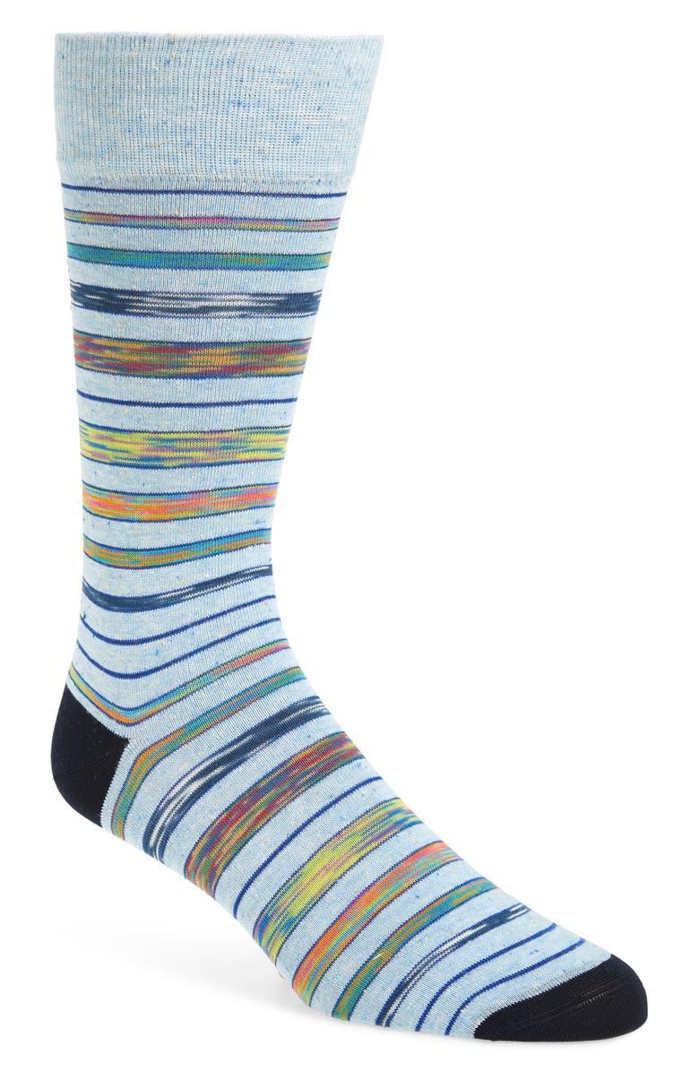 BUGATCHI Stripe Socks, Main, color, SKY
