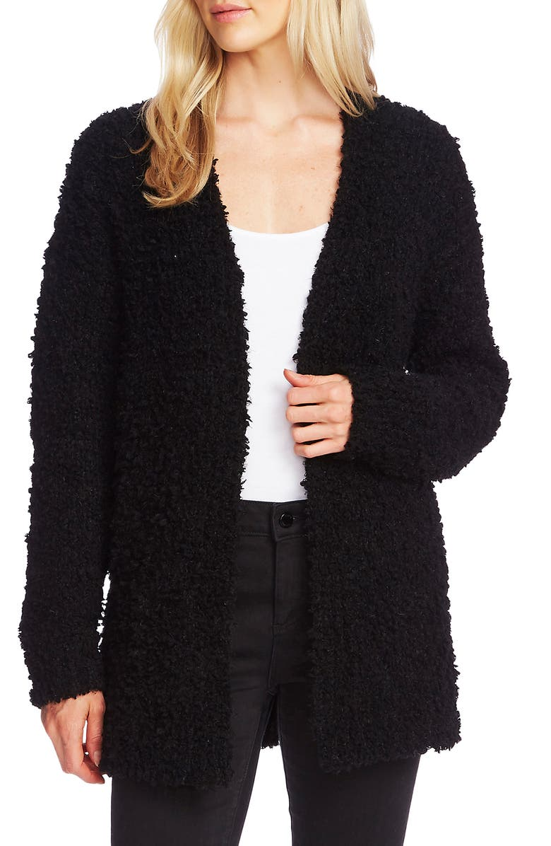 VINCE CAMUTO Poodle Knit Cardigan, Main, color, RICH BLACK