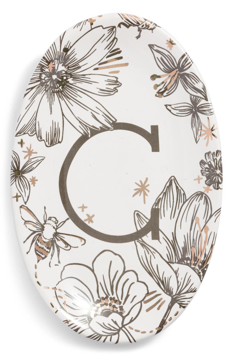 NORDSTROM AT HOME Floral Monogram Trinket Tray, Main, color, WHITE C