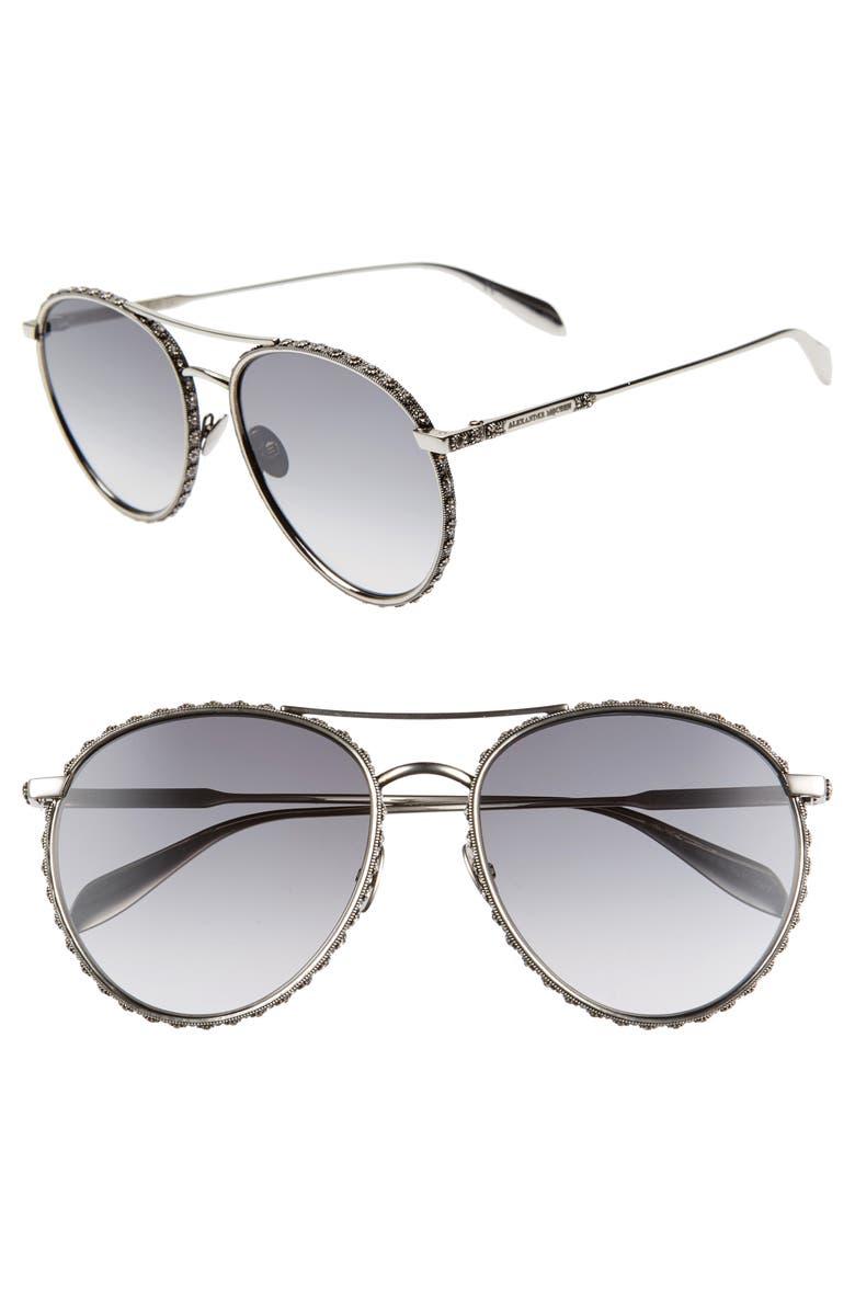 32e438e68a1c 58mm Swarovski Crystal Trim Round Aviator Sunglasses, Main, color, SILVER