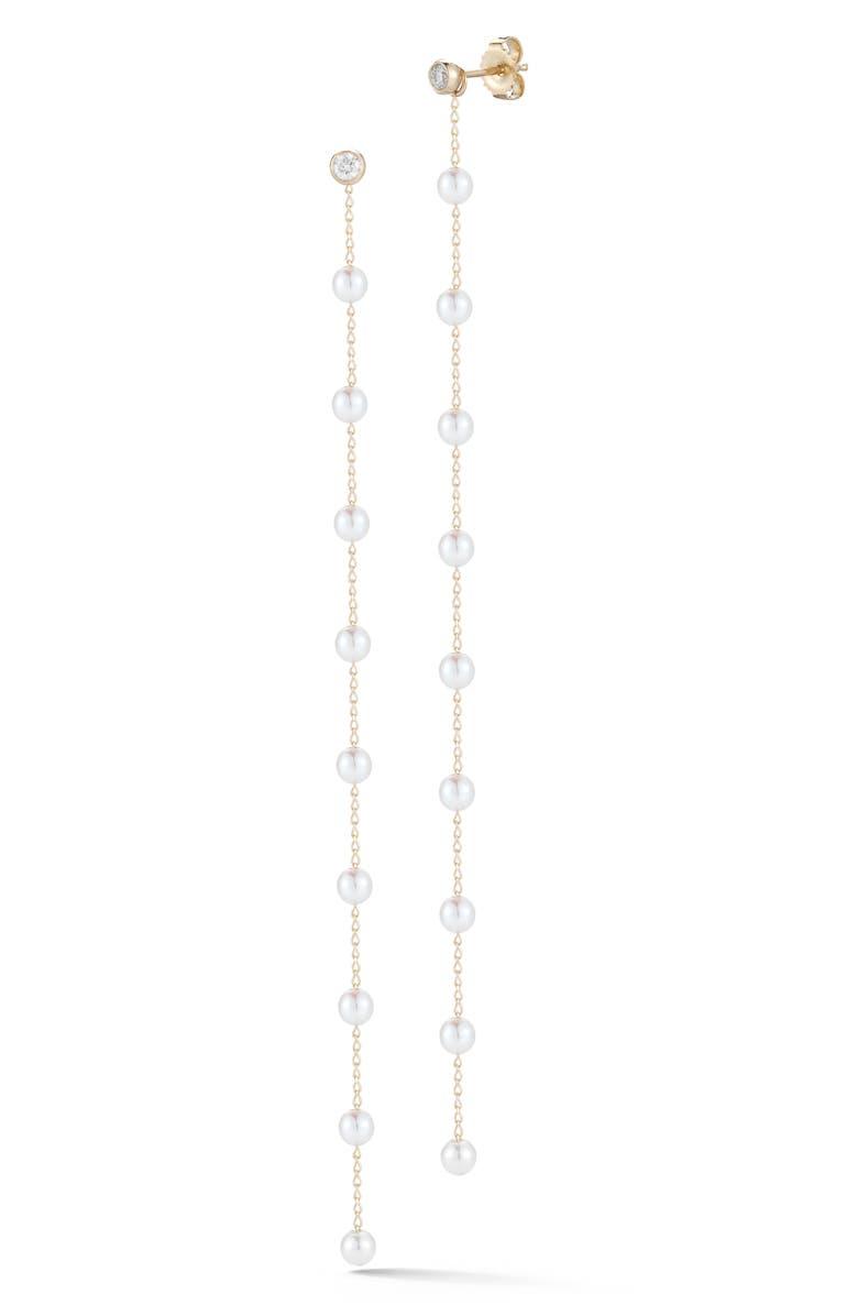 MIZUKI Long Pearl & Diamond Drop Earrings, Main, color, YELLOW GOLD/ WHITE PEARL