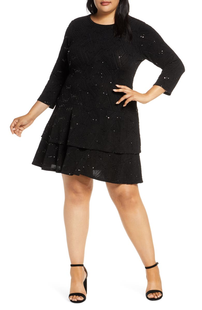 MICHAEL MICHAEL KORS Sequin Jacquard Tiered Dress, Main, color, BLACK