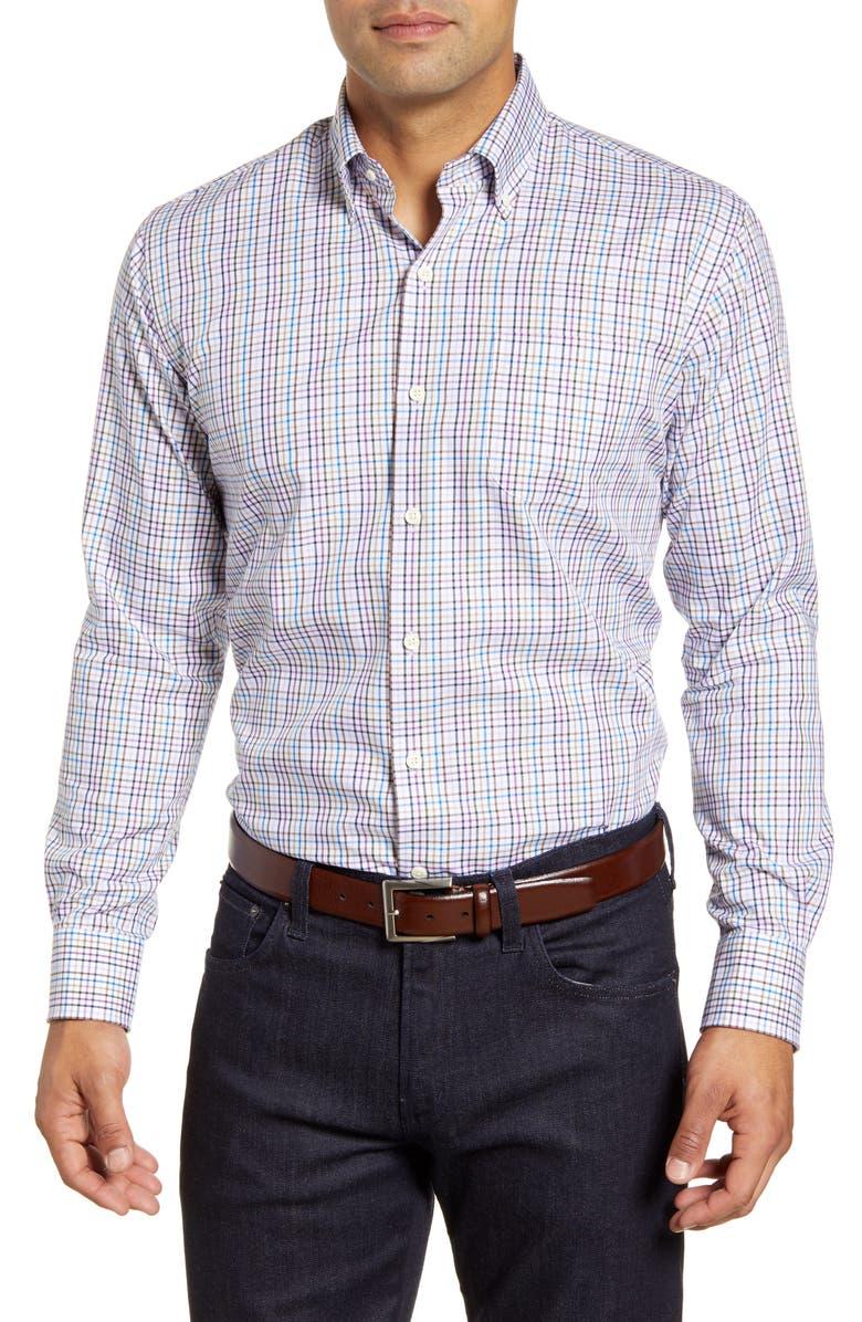 PETER MILLAR Freeman Park Tattersall Button-Down Shirt, Main, color, BEET