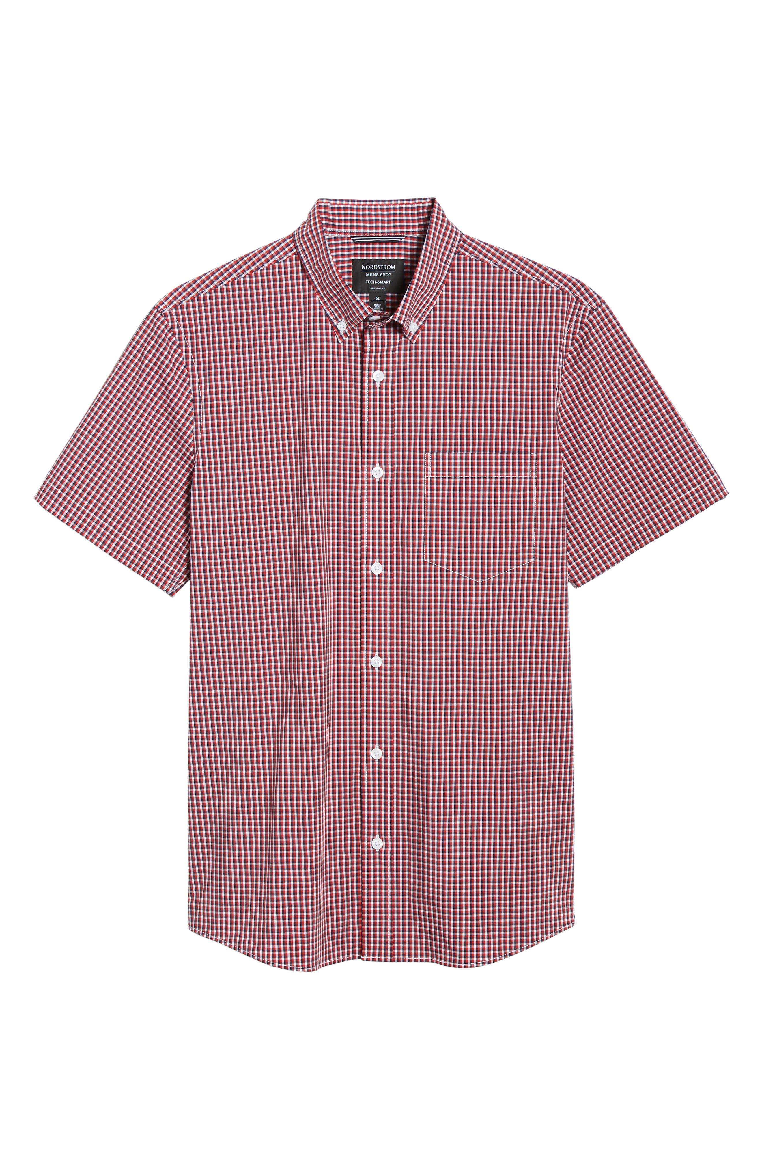 ,                             Tech-Smart Regular Fit Check Sport Shirt,                             Alternate thumbnail 5, color,                             RED POMPEII NAVY CHECK